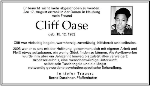 Cliff Oase Obituary