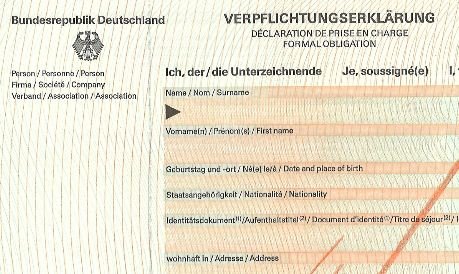 Getting a Verpflichtungserklärung (Affidavit of Support/Formal Obligation)