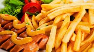 fries sausages food