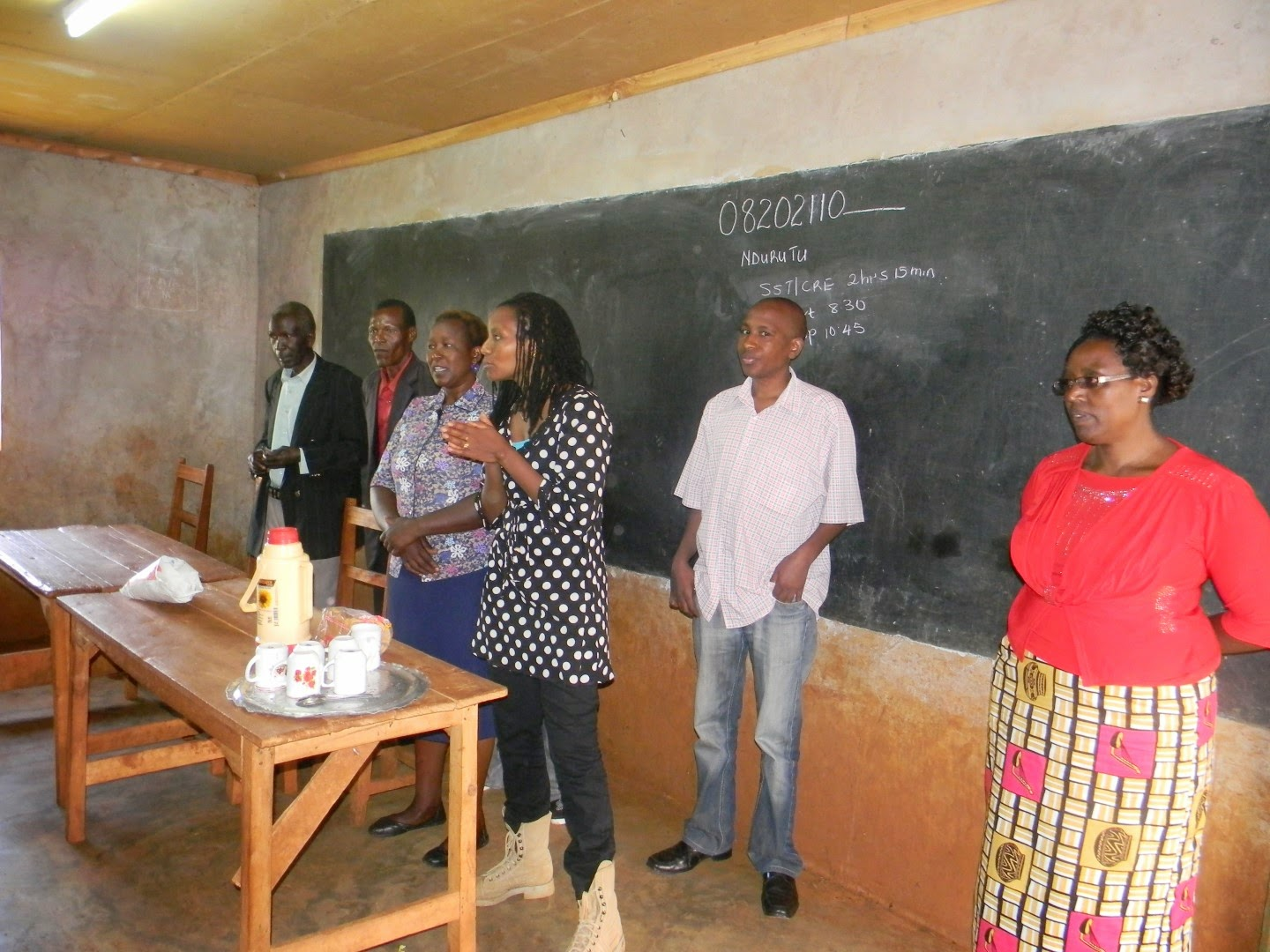 Muthoni Schneidewind and the Kedovo gang talking to the pupils at Ndurutu Primary School