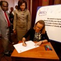 Prof. Koigi Kamau (University of Nairobi), Hon. Joyce Lay (Member of Kenyan Parliament) and Belen Garijo (Merck KGaA, Darmstadt, Germany) launched the More than a Mother campaign in Nairobi
