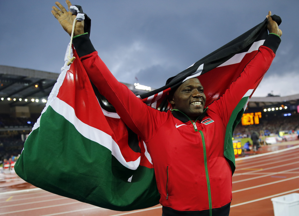 Julius Yego of Kenya celebrates after winning the men's javelin throw at the 2014 Commonwealth Games in Glasgow, Scotland, August 2, 2014.