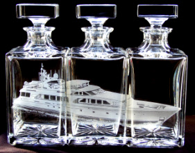 Engraved glass yacht