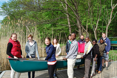 Kenyan youth Parish canoe ride
