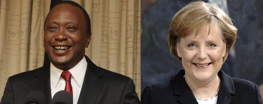 Uhuru Kenyatta and Angela Merkel Smiling