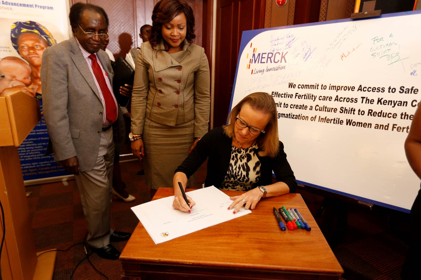 Prof. Koigi Kamau (University of Nairobi), Hon. Joyce Lay (Member of Kenyan Parliament) and Belen Garijo (Merck KGaA, Darmstadt, Germany) launched the More than a Mother campaign in Nairobi